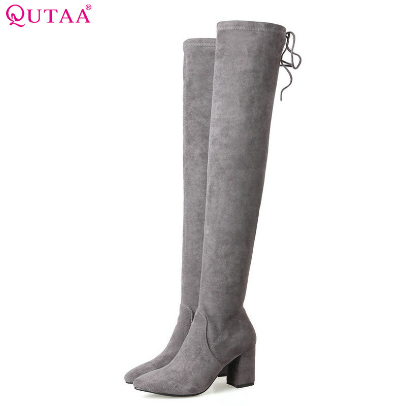 QUTAA 2018 Women Over The Knee High Boots Sqaure High Heel Pointed Toe Zipper Black Women Fahion Motorcycle Boots Size 34-39 qutaa 2017 women over the knee high boots all match pointed toe high quality thin high heel pointed toe women boots size 34 43
