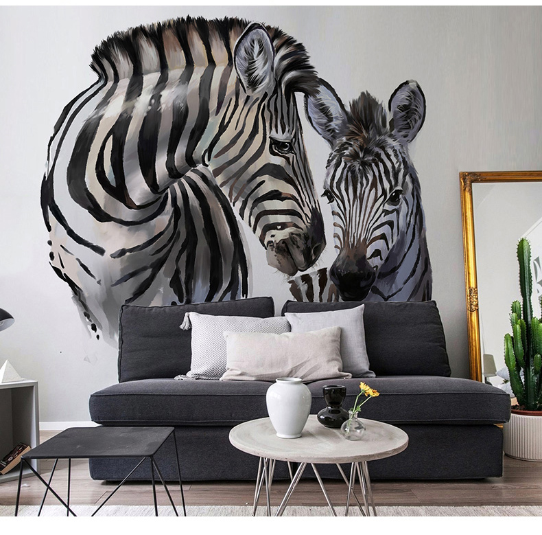 US $11.16 38% OFF|Bacaz Double Zebra 3d Animal Wallpaper Mural for Living  Room Background 3d Wall Photo Mural wall paper 3d Animal Stickers-in ...