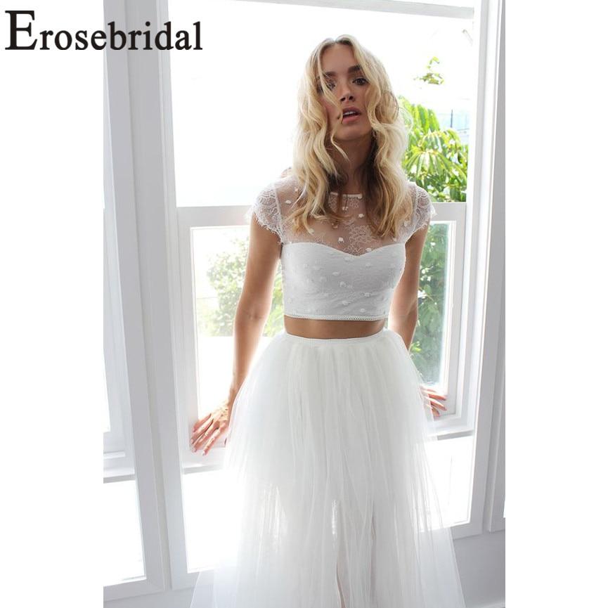 Erosebridal New Arrival 2019 Two Piece Wedding Dresses Crop Top Wedding Gown O-Neck Bride Dress Tulle vestido de noiva Plus Size