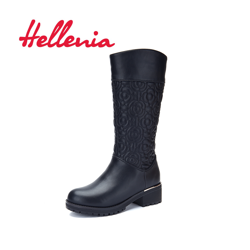 Hellenia 2018 New Kids Boots Winter Boots For Kids Warm Snow Boots Plush knee High low heels flower Girls Shoes black size 32-36 silvapuellis 2017 new winter simple stylish snow boots for girls children princess rubber low heels warm boots