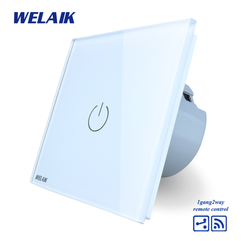 WELAIK Crystal Glass Panel Switch White Wall Switch EU Remote Control Touch Switch Light Switch 1gang2way AC110~250V A1914W/B mvava 3 gang 1 way eu white crystal glass panel wall touch switch wireless remote touch screen light switch with led indicator