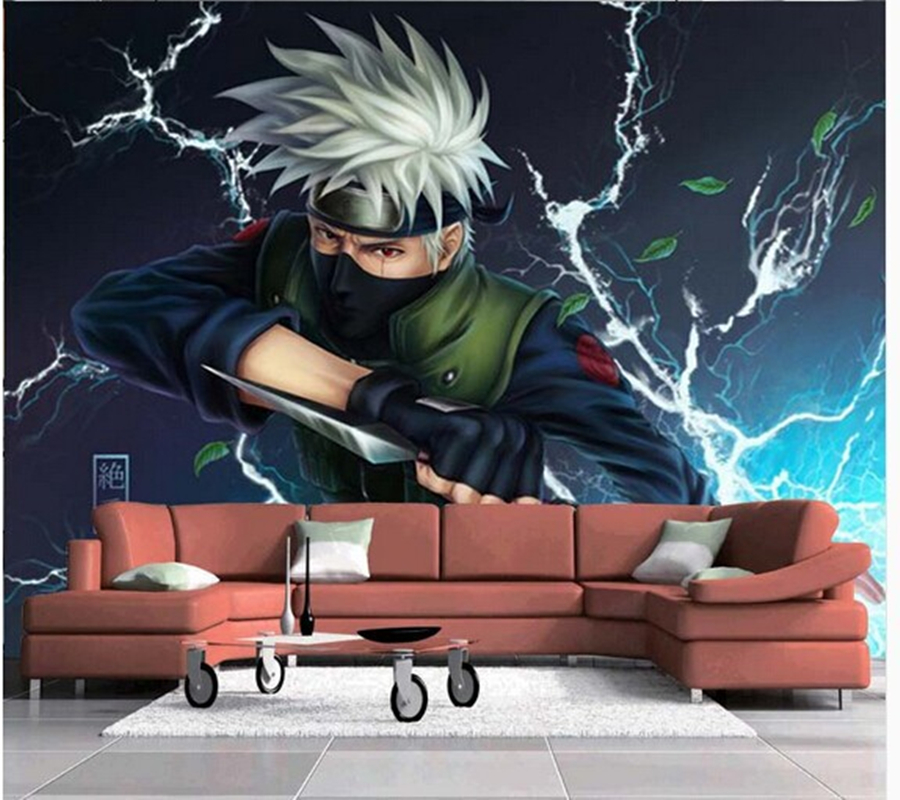 Free shipping custom wallpaper modern 3D children's bedroom TV sofa backdrop wallpaper mural Naruto Kakashi free shipping custom 3d mural classic retro modern sofa bedroom tv backdrop wallpaper zebra wallpaper