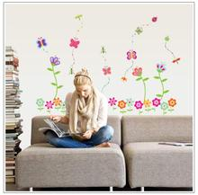 Cartoon  Butterfly Flower Children room for girls bedroom wall stickers PVC environmental 7042