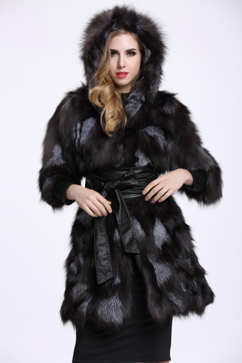 263297514 Genuine real Silver fox fur coat with hood women half sleeve long ...