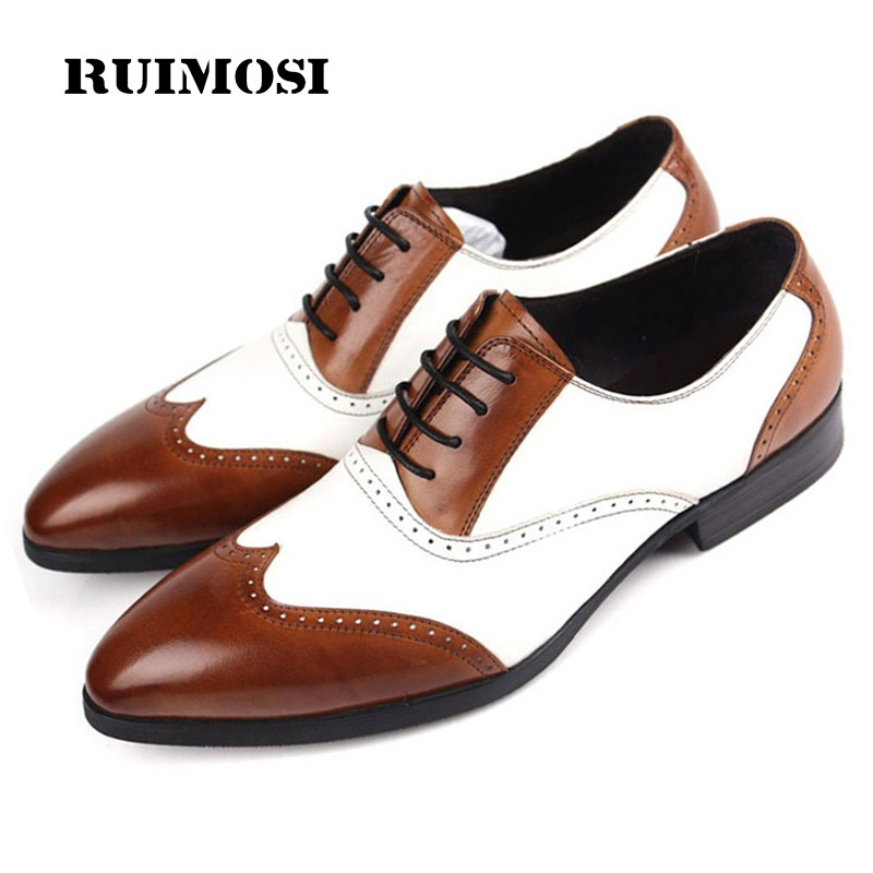 RUIMOSI Mixed Colors Man Dress Shoes Genuine Leather Brogue Oxfords Male Luxury Brand Round Toe Formal Men's Wing Tip Flats DF50