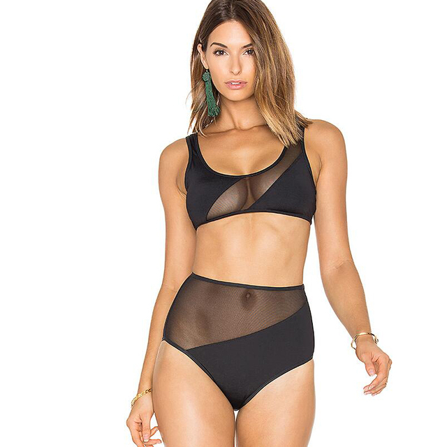 e5a5e0dc0827c Black Mesh Swimwear Women High Waist Bikini Set 2017 Sexy Swimsuit Plus  Size Bathing Suit Maillot De Bain Brazilian Biquini