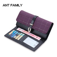 Fashion Plaid Genuine Leather Wallet Women Famous Brand Lady Party Clutch Coin Purse Long Wallets Phone