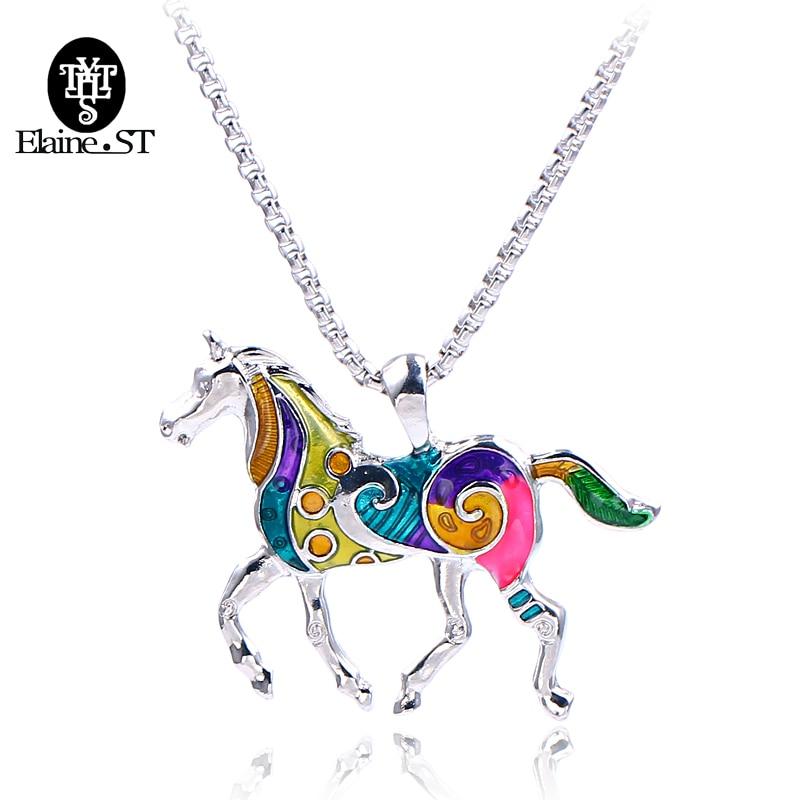 Wholesale 10Pcs Enamel Jewelry Horse Necklace Multicolor Vintage Ethnic Animal Pendant For Women Fashion Gothic Jewelry