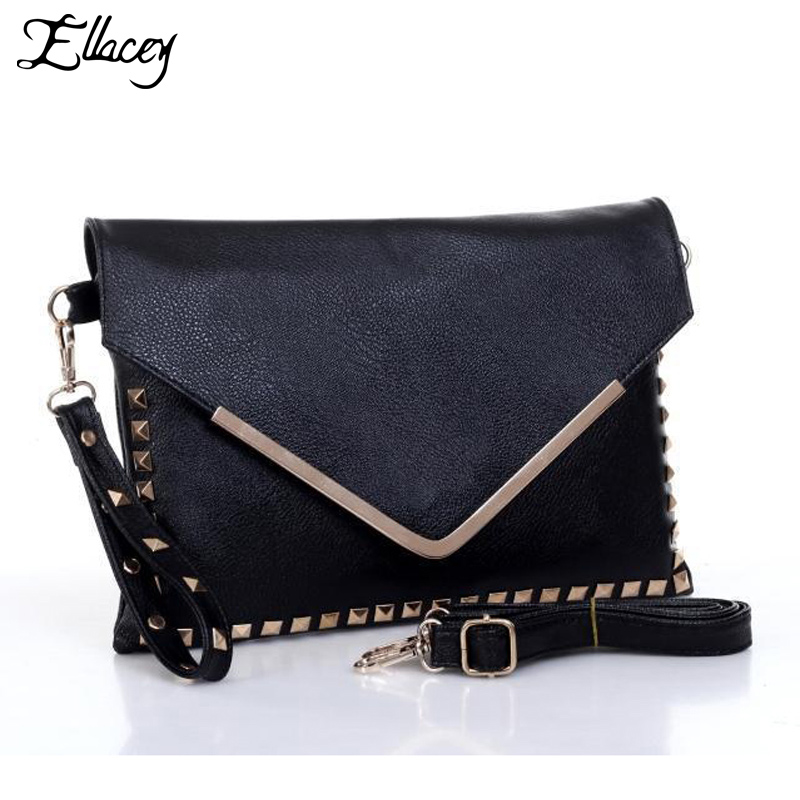 2016 Fashion Women's Black Studded Clutch Bags High Quality Cheap Leather Punk Bag Ladies Messenger Bag Women Rivet Shoulder Bag
