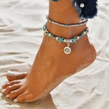 2019 Conch Anklet Turtle Bracelet Beach Pendant Starfish Pearl Retro For Women Jewelry Dropshipping retro black velvet strip cross decorative anklet for women