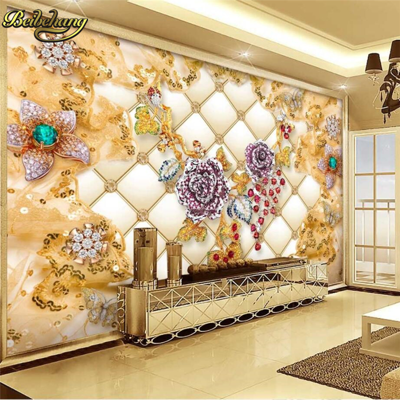 Beibehang Large Wallpaper Mural Custom Any Size Three: Beibehang Soft Package Luxury Gold Diamond Wall Paper 3D
