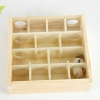 Intellectual Toys Wooden Glass Surface Hamster Toy Chew Toys Little Pet House Gerbil Hamster Cage Decoration