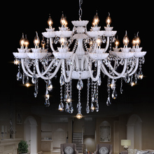 Large crystal chandeliers white 18 Arms Luxury cristal para lutre chandelier lighting suspension luminaire dining lustres sala