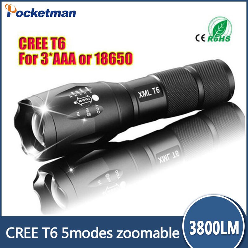 CREE XM-L T6 3800 Lumens LED Flashlight 5-Mode LED Torch E17 Zoomable Waterproof Flashlight by 1*18650 or 3*AAA 100% Authentic cree xm l t6 bicycle light 6000lumens bike light 7modes torch zoomable led flashlight 18650 battery charger bicycle clip