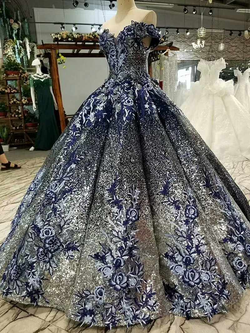 9302b9ad3b4 ... 2018 Ball Gown Elegant Prom Dresses Long With Beaded Sweetheart Tulle  Navy Blue Dress For Graduation ...