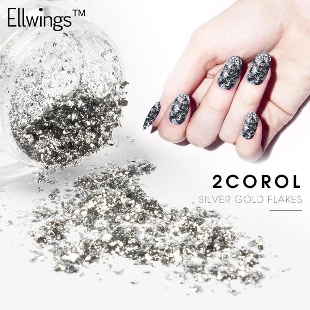 Ellwings 1 Box 02g Gold Silver Nail Art Glitter Mirror Powders