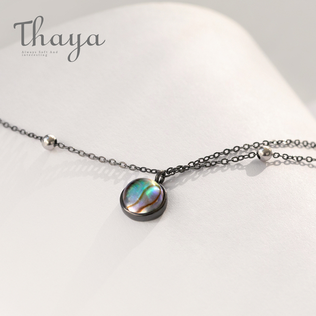 $ US $16.31 Thaya Star Planet Space Milky Way 100% s925 Silver Pendant Necklace Galaxy Crystal Black Chain for Women Jewelry Christmas Gift