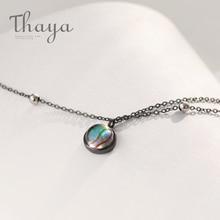 Thaya gwiazda planeta przestrzeń droga mleczna 100% s925 srebrny naszyjnik Galaxy kryształ czarny łańcuch dla kobiet biżuteria prezent na boże narodzenie