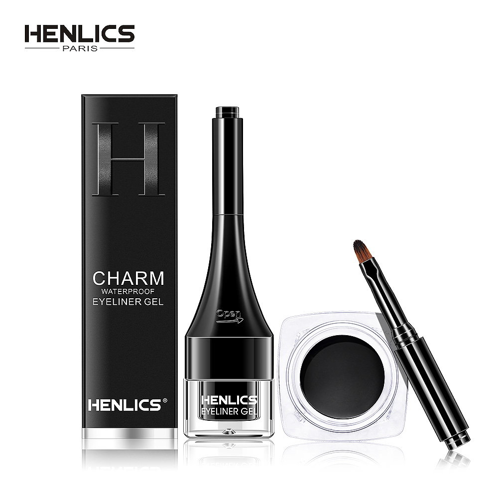 HENLICS Charm Waterproof Eyeliner Gel with Makeup Brush Long-Lasting Eyeliner Cream Makeup Cosmetic in Natural Black Color black long lasting pencil waterproof eyeliner mascara makeup waterproof lengthening cosmetics set cosmetic beauty makeup meiking