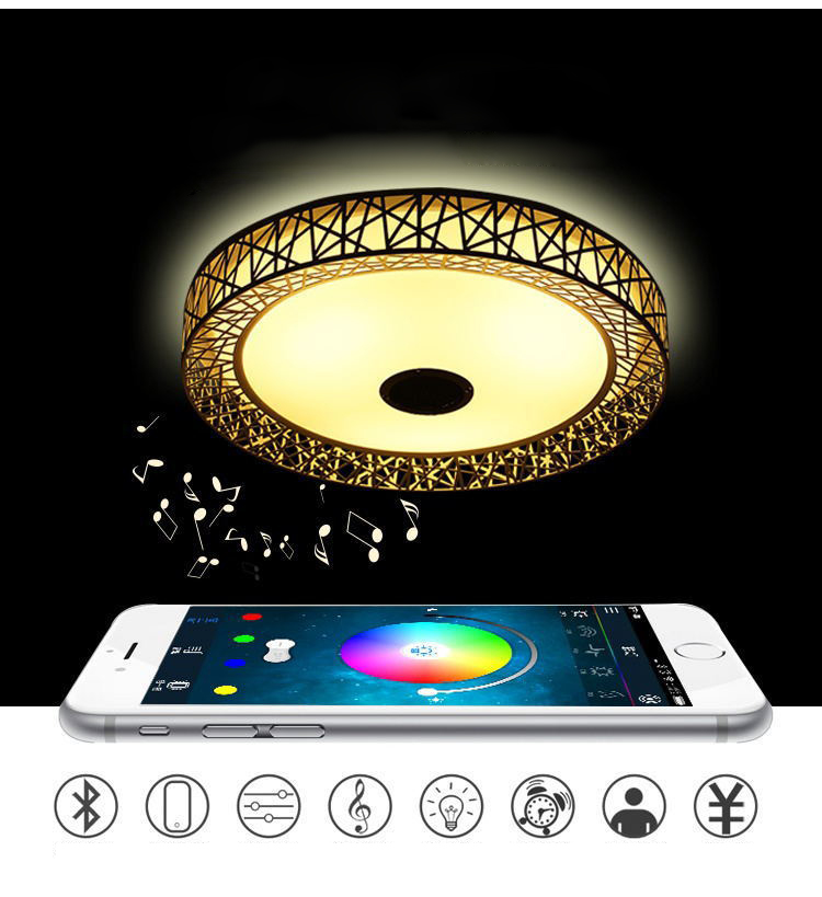 Bird Nest Wireless Bluetooth LED Ceiling Light Music & Multi Colors Changing Smart Remote control Lamp metal & Acrylic lampshade - 2