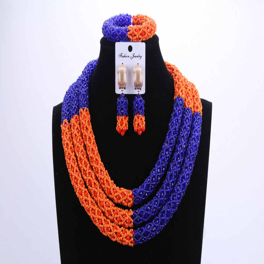 Новый бисер Королевский синий/оранжевый Африканский бисер свадебные комплекты ювелирных изделий нигерийское ожерелье с бусинами полный комплект бесплатная доставка