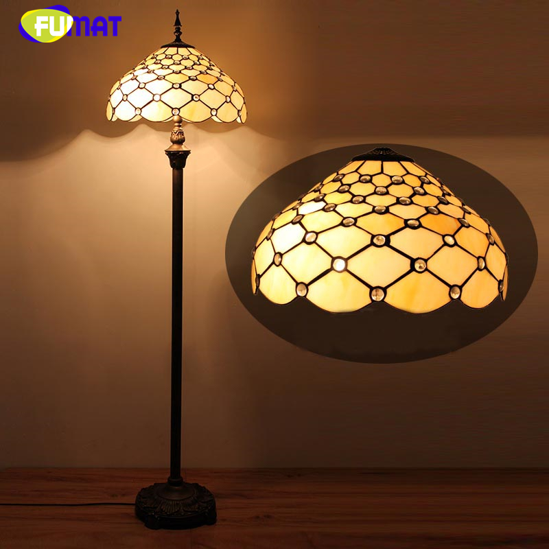 FUMAT European Modern Brief Glass Floor Lights For Living Room Bedside Vintage Yellow Shade Warm LED Stained Glass Floor Lamp fumat crystal table lamps modern art copper stand lights for living room bedside floor lights led fabric shade floor lamp