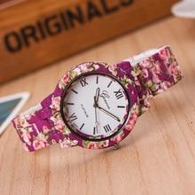 Mulheres Relogio Estudante Impressão Flor Vestido de Genebra Relógio de Quartzo relógios Digitais Casuais Ms. StrapT3663-6 Feminino relógio de Pulso Elástico