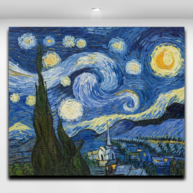 Van Gogh Starry Night Reproduction Oil Painting Canvas Print Wall ...