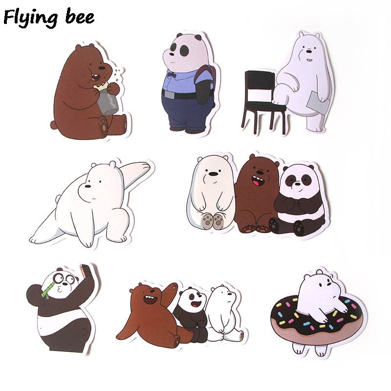 Image 3 - Flyingbee 37 Pcs We Bare Bears Graffiti Stickers for Kids DIY Luggage Laptop Skateboard Car Bicycle Waterproof Sticker X0293-in Stickers from Consumer Electronics