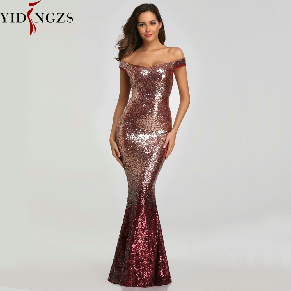 YIDINGZS Sequins   Evening     Dress   Women Long Sparkle Elegant   Evening   Party   Dresses