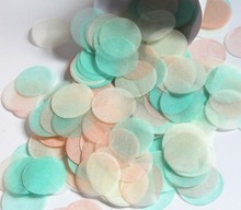 Peach mint green coral pale heart circles wedding confetti and party table decorations