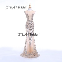 ZYLLGF Bridal Very Sexy Mermaid Wedding Party Dresses See Through Robe De Soiree Crystal Beaded Bridesmaid Gowns SP6