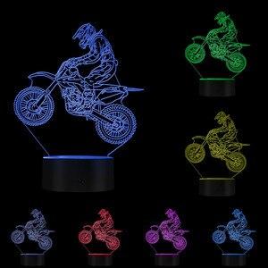 Image 5 - Dirt Bike 3D affichage lumineux lampe de bureau moto cross vélo moderne Illusion veilleuses cadeau pour Freestyle motocross motards