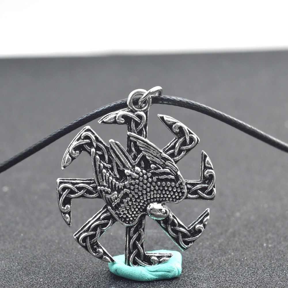 Hoa cúc 1 pcs Valkyrie Tuyên Bố Đồ Trang Sức Pagan Bùa Slavic Biểu Tượng Chiến Binh Lá Bùa Bắc Âu Huyền Bí Eagle Mặt Dây Chuyền Vòng Cổ