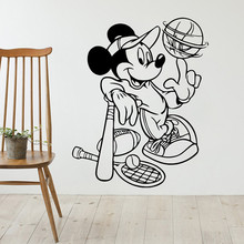 Mickey Mouse Play Baseball Wall Sticker Sports Home Decoration Vinyl Art Removable Poster Mural Beauty Cute Ornament LY1404