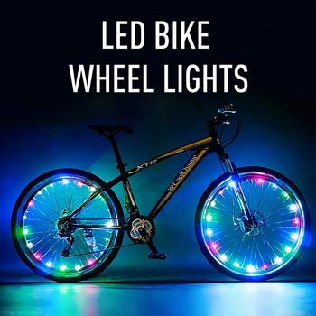 2 M 20 LED światła rowerowe rower górski koła ciąg światła jazda na rowerze koło szprychowe lampy rowerowe akcesoria rowerowe Luces doprowadziły Bicicleta Bisiklet tanie i dobre opinie Nowość Wakacyjny LED Bicycle Lights ROHS 1 Year Miedzi Brill-ligfut Żarówki led 4 5V 220cm PC Coppper wire steady and flash two function