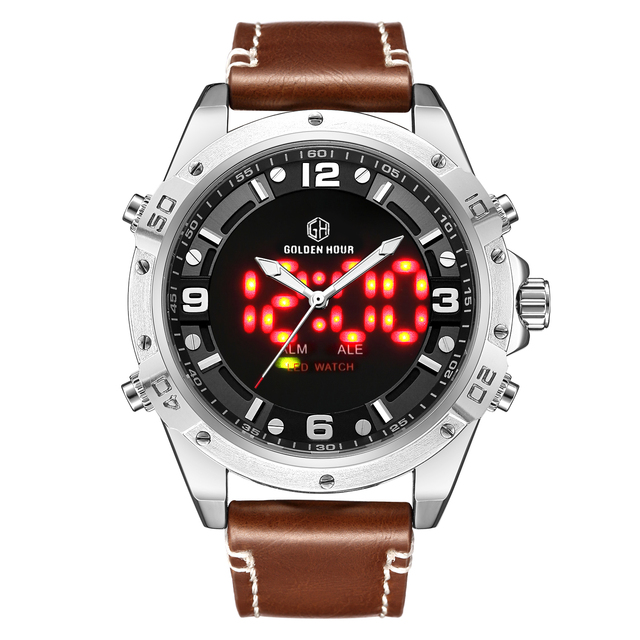 GOLDENHOUR Fashion Outdoor Digital Dual Time Watch Men Chronograph Alarm Leather Strap Sport Casual LED Electronic Wrist Watches