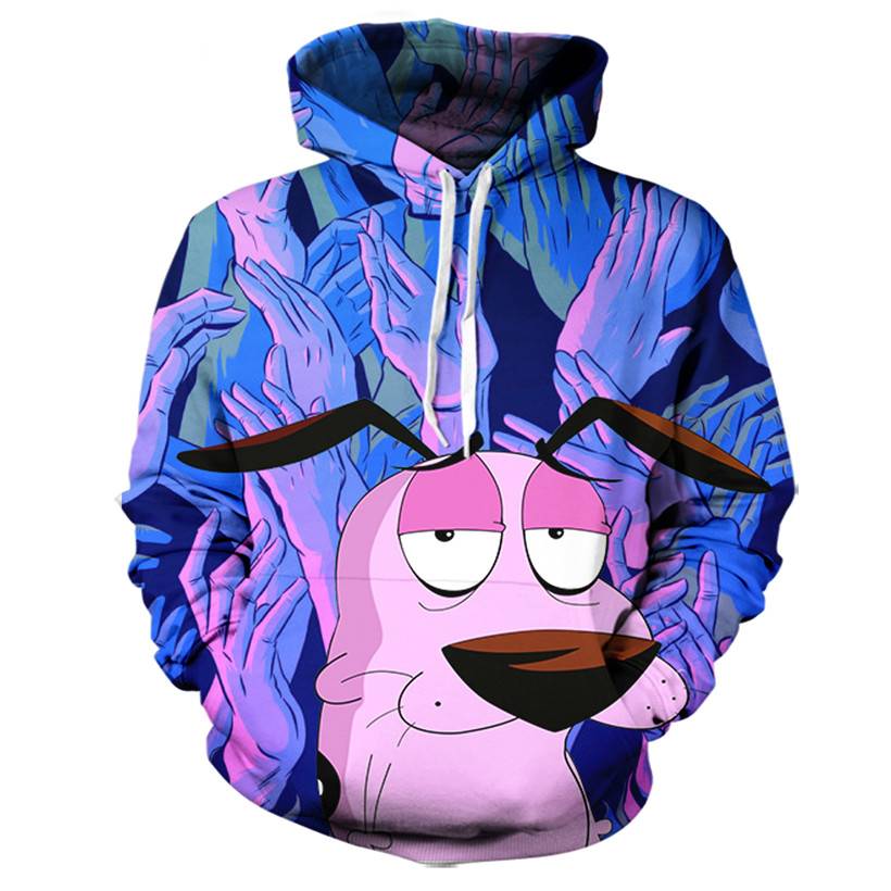 Real American size Courage The Cowardly Dog 3D Sublimation Print OEM Hoody/Hoodie Custom made Clothing plus size