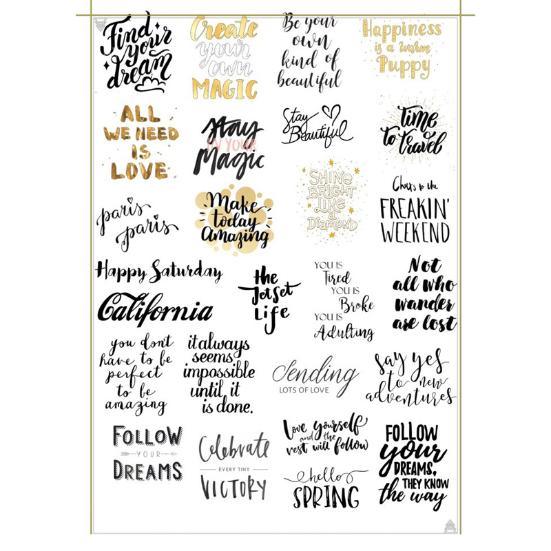 2 Pcs Fashion Gold And Black Word Diy Decoration Scrapbooking Notebook Stationery Stickers Uncut Art Paper Planner Diary Sticker Strengthening Waist And Sinews