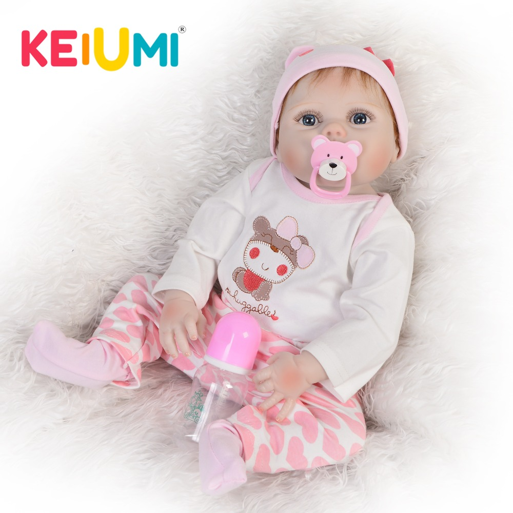 KEIUMI Adorable 23'' Reborn Baby Girl 57 cm Full Silicone Reborn Dolls Babies Washable Bebe Doll Toys For Kids Birthday Gifts-in Dolls from Toys & Hobbies    1