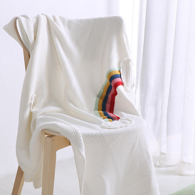 Captivating Free Shipping Novelty Gift Multi Purposed Lovely Rainbow Cloud Cotton  Knitted Baby Kids Throw Blanket