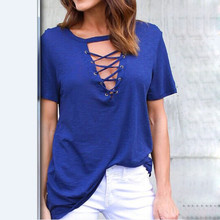 цены на Women Short Sleeve Summer T-shirt Sexy Lace Up Deep V-neck Bandage T Shirt Cotton Tshirt Casual Loose Tops Hollow out Tee shirt  в интернет-магазинах