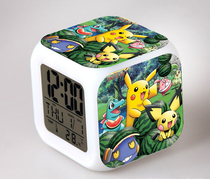 Japanese Anime Pocket Monster Pikachu LED 7 Color Flash Digital Alarm Clocks Kids Night Light Bedroom Clock reloj despertador(China)