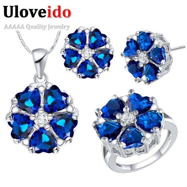 Uloveido 8 colores de flores de plata regalo de la manera joyería de la boda conjuntos para las mujeres nupcial aretes collar azul anel joyería conjunto t560
