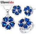 Uloveido 8 cores flores conjuntos de jóias de casamento de prata para as mulheres presente nupcial moda azul colar brincos anel set jóias t560