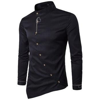 2019 Fashion Male Shirt Brand Personality Oblique Button Mandarin Collar Men Tuxedo Long Sleeve Shirts For Men Big Size 2XL