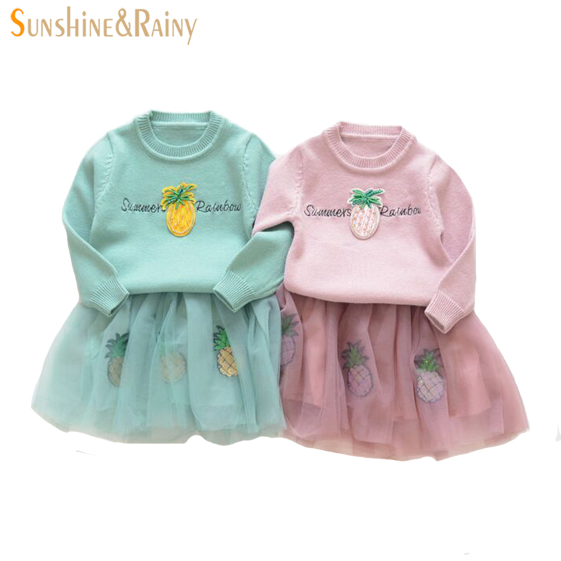 2017 Autumn Children Clothing Girls Clothes Sets Girl Sweater + Tutu Dress Kids Clothes Outfit Girl Knitted Pullover Winter