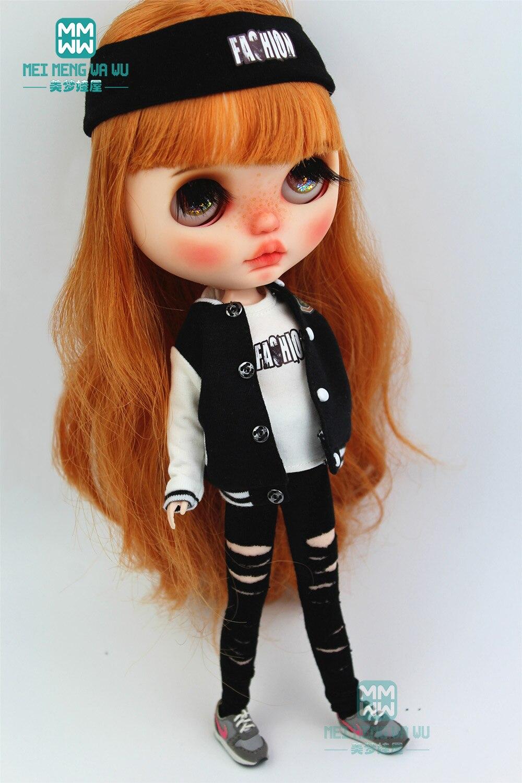 1PCS Blyth Doll Clothes Fashion Jacket, Hole Pants, Headband For Blyth , Azone1/6 Doll Accessories