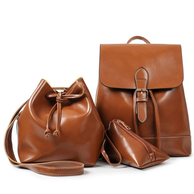 2018 fashion women backpack oil wax leather backpack for teenage girls school backpacks large capacity shoulder bags brown цена и фото