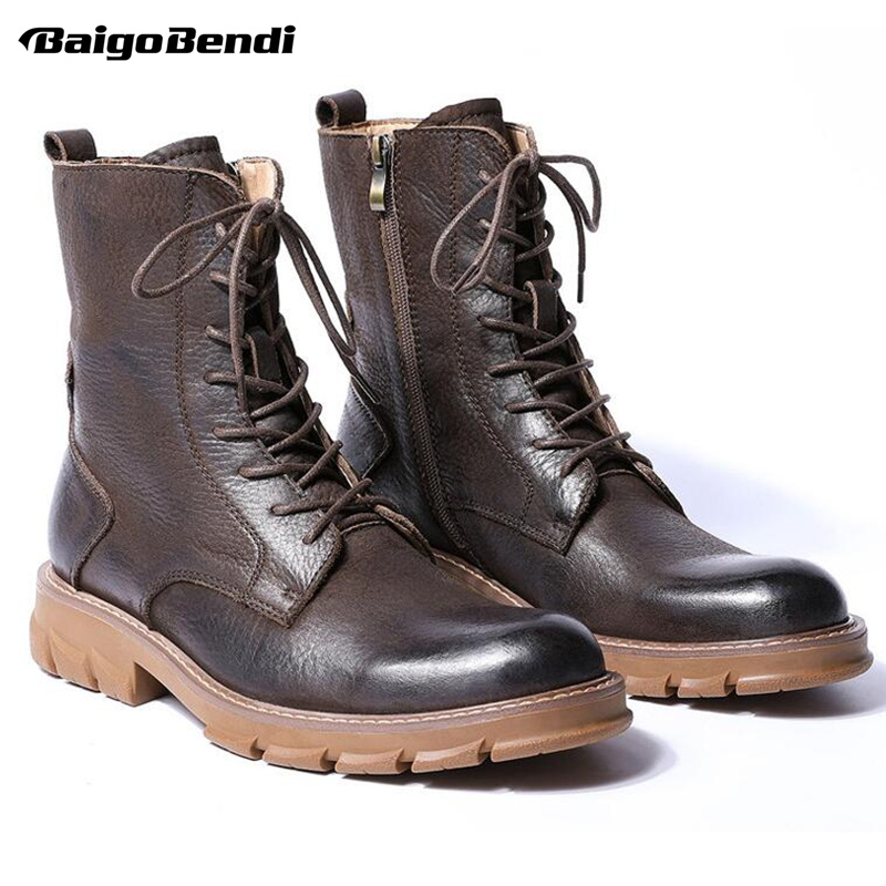 Genuine Leather Mid Calf Boots Men Retro Thick Heel Soliders Ridding Boots Work Safety Winter Boots For Man Hight Quality-in Basic Boots from Shoes    1